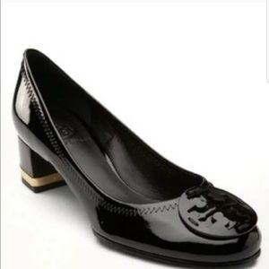 Tory Burch Black Patent Leather Amy Heels